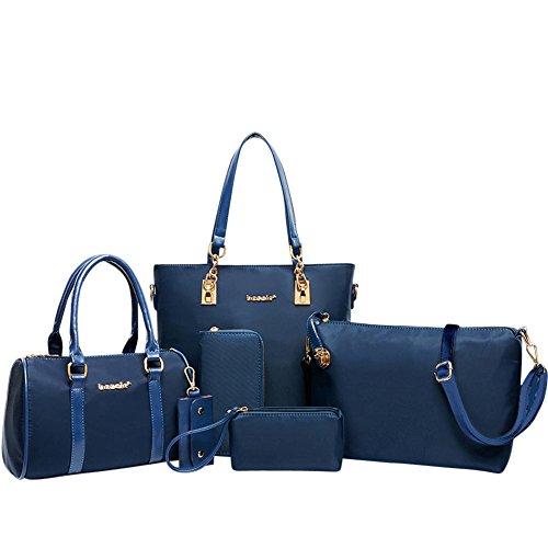 YipGrace Donne Impermeabile Borse Spalla Portafoglio Sei Pezzi Sets Blu