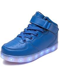 SAGUARO® Leuchtende Kinderschuhe 7 Farben LED Schuhe USB Aufladen Leuchtschuhe Mädchen Jungen Blinkschuhe Licht Sportschuhe Turnschuhe Sneaker, Blau 29