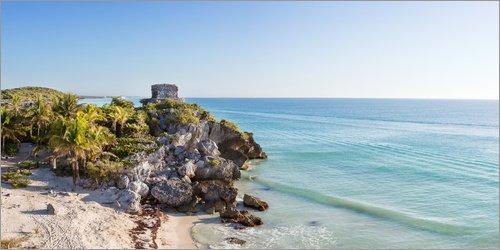 Posterlounge Acrylglasbild 120 x 60 cm: Panorama von Maya-Ruinen von Tulum und Karibik, Mexiko von Matteo Colombo - Wandbild, Acryl Glasbild, Druck auf Acryl Glas Bild