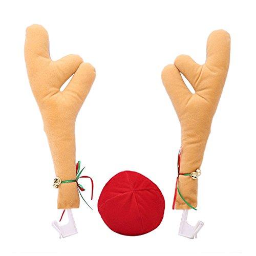 Kicode Weihnachts-Rentier Gelb Geweih-Dekor Rote Nase Auto Fenster Dekorativ Festliche Spielzeug Ornamente ()