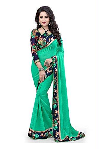 Kjp Villa Women\'s Dani Green Rama Free Size Embroidery Saree With Blouse Pics (zeel saree-241)