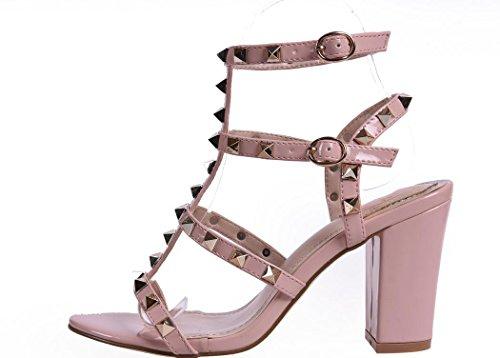 YCMDM WomenBig Code Chaussures à talons hauts Rainbow Sandales Rivet épais Sandals Couleur Rose Noir Abricot 39 36 35 38 37 40 pink
