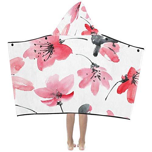 Tinte elegante Blume weich warm Kinder verkleiden sich mit Kapuze tragbare Decke Badetücher werfen Wrap für Kleinkinder Kind Mädchen junge Größe nach Hause Reise Picknick Schlaf Geschenk -