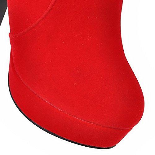 AllhqFashion Damen Nubukleder Niedrig-Spitze Eingelegt Reißverschluss Stiefel Rot