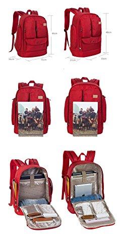 Outdoor peak Damen Nylon wasserdicht Büchertasche Rucksack Laptoptasche Unitasche Freizeitrucksack Schulrucksack Studententasche Daypacks Reisetasche Rot