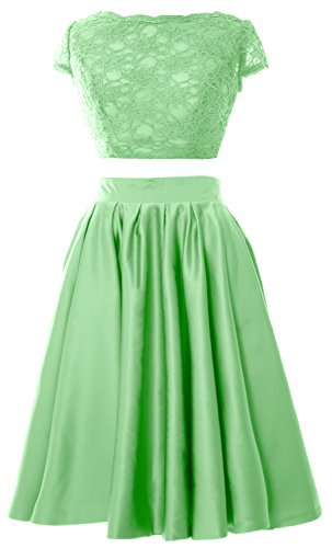 MACloth Women 2 Piece Cocktail Dress Cap Sleeves Short Lace Prom Formal Gown Minze