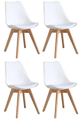 Preisvergleich Produktbild OYE HOYE Stilvolle Retro Artisan Esszimmerstühle / Bürostühle - 4er Set - mit Robustem Buchenholz,  Weich Gepolstertem Sitz - Langlebig