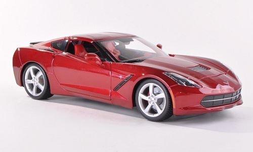 chevrolet-corvette-stingray-met-dkl-rot-2014-modellauto-fertigmodell-maisto-118