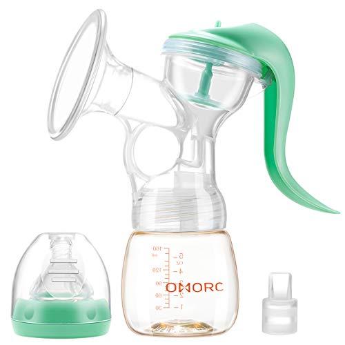 OMORC Tiralatte Manuale con Bottiglia per il Latte in PPSU senza BPA, Aspirazione Regolabile con 2 Livelli, Design Anti-Riflusso per Mom Bambini
