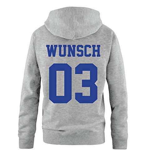 Mom-kinder Sweatshirt (Comedy Shirts - Wunsch - Herren Hoodie - Grau/Royalblau - Gr. L)