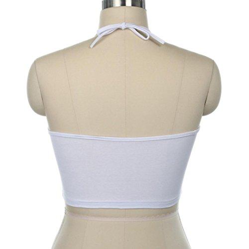 Bluestercool Femmes Gilet sans manches Halterneck Lettre Blouse Chemise Blanc