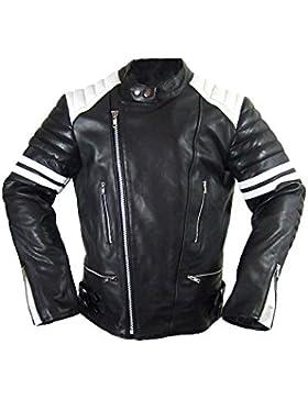 Hard Leather Chaqueta de cuero para hombre Punk Rock Biker con rayas blancas