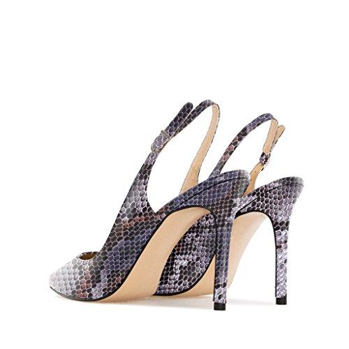 EDEFS Damen Slingback Pumps,High Heel Übergröße Damenschuhe,Schuhe mit Hohen Absätzen Python-Purple