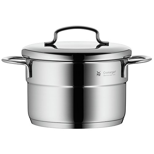 WMF cookware Ø 14 cm approx. 1,3l Mini stackable pouring rim metal lid Cromargan stainless steel brushed suitable for all stove tops including induction dishwasher-safe