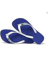 on sale 24111 32013 Havaianas Brasil Logo Marine Blue Flip Flops - UK 6 7 - BR 39