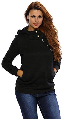 Y-BOA Sweat-Shirt Femme Sport Casual Capuche Zip Bouton Hiver Noir
