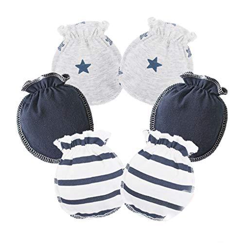Meisijia 3 Paare Baby-Kind-weiche Baumwollhandschuhe elastisches Gummiband kein Kratzer Neugeborene Kleinkind-Handschuhe Dunkelblau