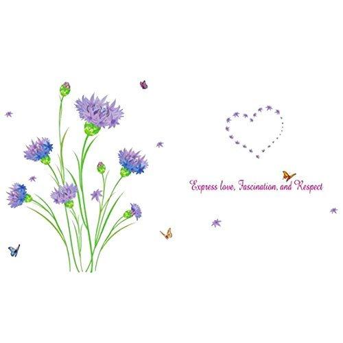 sourcingmap-hierba-patron-de-flores-resistente-al-agua-adhesivo-de-pared-art-poster-mural-de-vinilo-