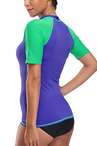 Attraco Damen Schwimmshirt Kurzarm UV Shirt Rash Guard Badeshirt UPF 50+ Violett