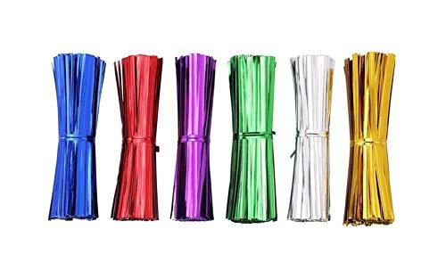 Fully Lot de 700 Attaches métalliques torsadées de 10 cm pour sachets de friandises en cellophane.