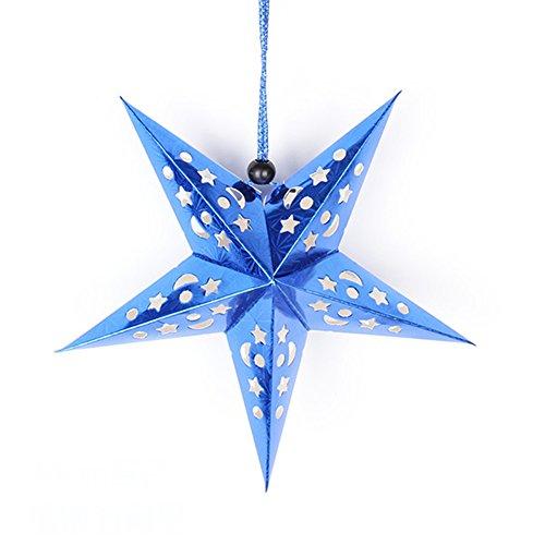 itemer Weihnachtskugeln hängen Dekoration Decke, Papier Star Anhänger Ornament für Xmas Tree Hochzeit Party Hotel Festival, Blau, 30 cm - Papier-decke-anhänger