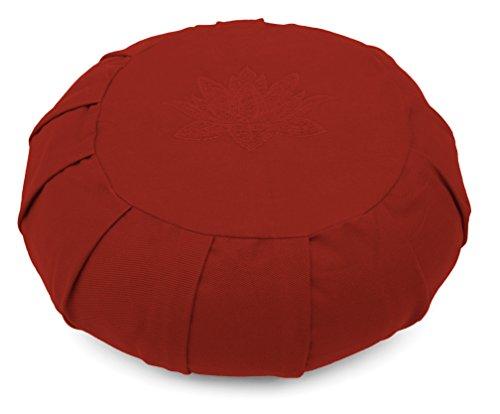 Yoga Studio Zafu rond plissé Sarrasin Coussin de méditation–Feuille de lotus rouge Bordeaux
