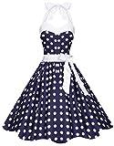 Zarlena Damen 50er Retro Rockabilly Pola Dots Petticoat Neckholder Kleid Navyblau mit weissen Dots X-Small 1600