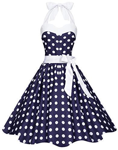 Polka 50's Dress Kostüm Dot - Zarlena Damen 50er Retro Rockabilly Pola Dots Petticoat Neckholder Kleid Navyblau mit weissen Dots Small 1601
