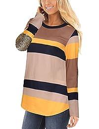 ShiFan Mujer Casual Manga Larga Elegante Rayas Camisas Round Collar Blusa T-Shirt