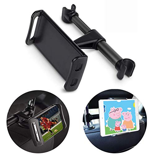 Supporti Poggiatesta per Tablet Cellulare con 2 Appendiabiti Auto, Supporto per Telefono Tablet per Schienale Auto universale per iPad Samsung Nintendo Switch Kindle Fire da 4 a 10.1 pollici (Black)