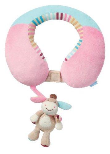 Preisvergleich Produktbild Fehn 081756 Nackenstütze Esel – Nackenkissen mit kleinem Rassel-Esel für Babys und Kleinkinder ab 6+ Monaten – Stützt und entlastet in Kinderwagen, Babyschale oder Auto