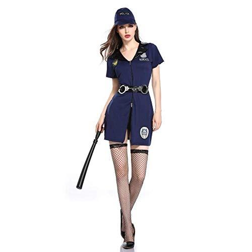Fashion-Cos1 V-Ausschnitt mit kurzen Ärmeln Polizei Party Kostüm Sexy Festnahme Polizist Cop Erwachsenes Kostüm Halloween Weibliche Polizeiuniform (Size : L)