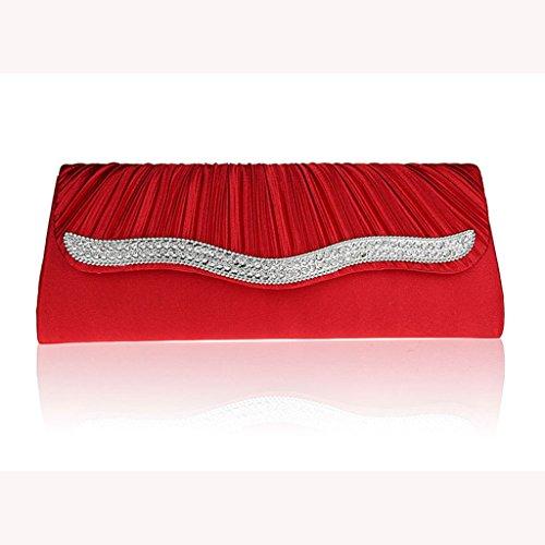 Il pacchetto vestito bag nuovo cristallo piega moda frizione borsa borsa da sera di banchetto sacchetto della sposa ( Colore : Nero ) Rosso