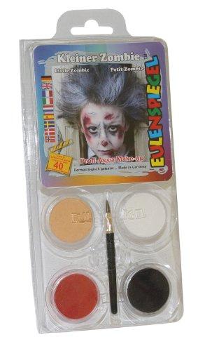 Schminkset kleiner Zombie, Pinsel und Anleitung, 4 Farben (Kleines Kind Zombie)