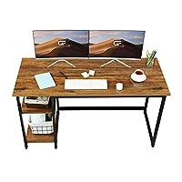 طاولة كتابة Green Forest بحجم 139.7 سم مع أرفف تخزين قابلة للعكس من طبقتين، حجم كبير في المكتب المنزلي، مكتب ألعاب الدراسة، خشب الجوز