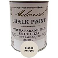 Chalk Paint Pintura para muebles Efecto Tiza 750 ml (Blanco Antiguo)
