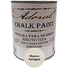 Chalk Paint Pintura para muebles Efecto Tiza 750 ml (Blanco Antiguo)