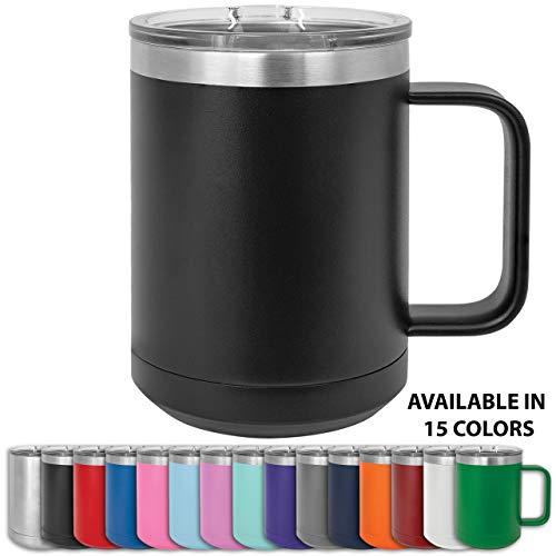 Clear Water Home Goods Doppelwandiger Kaffeebecher mit Deckel und Griff, doppelwandig, Edelstahl, pulverbeschichtet schwarz