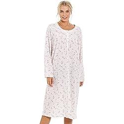 Chemise de Nuit à Manches Longues Femme Motif imprimé en Forme de Roses - Rose 46/48