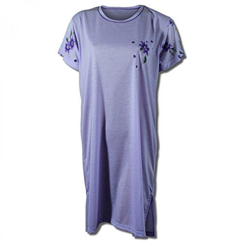 Lavazio Chemise de nuit pour femme à manches courtes à motif fleuri Violet