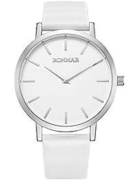 RONMAR Reloj de Pulsera de Cuarzo con Correas Blanca de Cuero de Becerro para los de Negocios