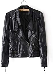 Biker Jacket For Women - Leather - Black