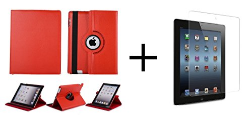 San Pareil Leather 360-Degree Rotating Hard Folio Case (Red) For Apple IPad Air , With Tablet Stand And Camera Hole, Along With Tempered Glass Screen Guard , Anti Scratch Proof (Transparent) With Free Cleaning And Application Kit For Bubble Free Fixing