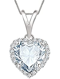 "Silvernshine 7mm D/VVS1 Diamond Halo Heart Pendant 18"" Chain In 14K White Gold Fn"