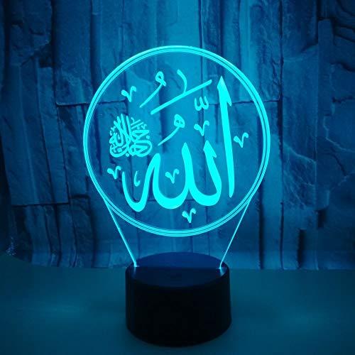 Kreative kleine Tischlampe Allah 3D Lampe Islam 3D LED Nachtlicht 7 Farbe 3D Riss bunt: Touch oder mehr