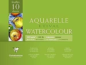 Clairefontaine 96562C Malblock, 4-seitig verleimt Aquarellpapier Grobkorn Torchon (Etival/Zellulose, 30 x 40 cm, 10 Blatt, 300 g Packung) weiß