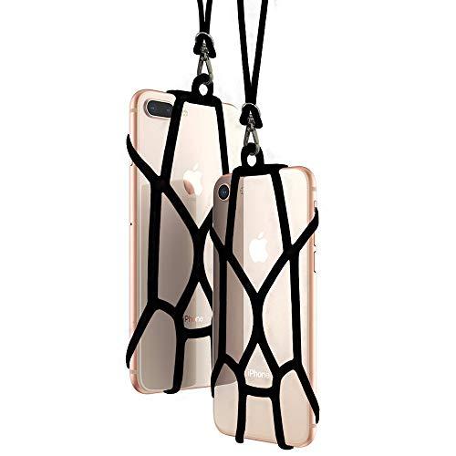 seOSTO Universal Handy Sling Umhängeband Silikon Halterung Schutzhülle mit für iPhone XS/Xs Max/XR/X/8 Plus/8/7 Plus/7/6S Plus/6S Samsung Galaxy S8/OnePlus 5/5T (Schwarz (2 Pack))
