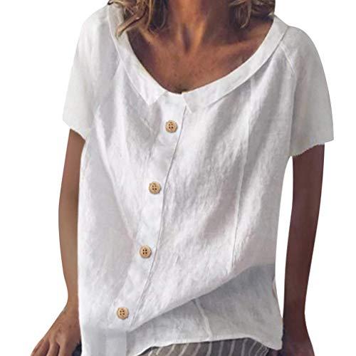 VEMOW Vestido de Mujer Verano Algodón Lino Casual Abotonada decoración Tops BlusaBlanco,XL