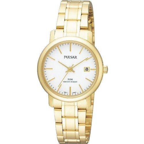 Pulsar Uhren - Reloj analógico para mujer de acero inoxidable recubierto blanco