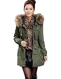 Women Fleece Winter Warm Parka Faux Fur Jacket Hooded Coat Overcoat Tops 2Color